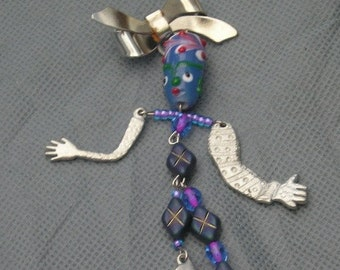 BD art doll pin brooch  GoofyGuy with silver limbs - etsyBead, FunkyAlternativeJewelry, Dollmakers,  OlympiaEtsy, WWWG, paganteam, GirlGeeks