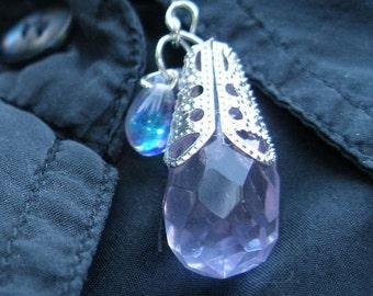 Earrings -Faceted purple quartz crystal briolette, silver filigree  etsyBead Team, WWWG,, paganteam, OlympiaEtsy, HandmadeJewelry