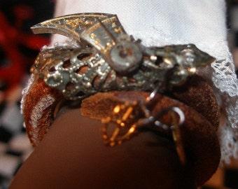Steam punk bracelet for BJDs , AG and friends - Bird of Prey  --TeamBJD, trashionteam, OlympiaEtsy,  FunkyAlternativeJewelry,  WWWG,