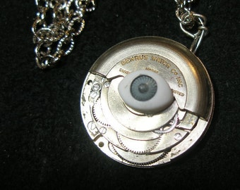 MOM's Day Steampunk pendant - eye spy - revolving watchworks  - TrashionTeam, WWWG, OlympiaEtsy, JewelryMakersGuild, FunkyAlternativeJewelry