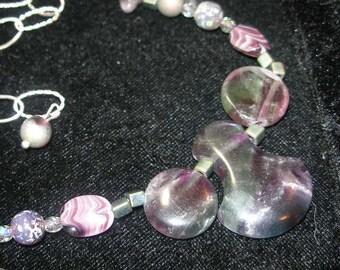 Necklace, fluorite, glass, crystal, sterling , purple, green BEAUTIFUL etsyBead, olyteam, paganteam, WWWG