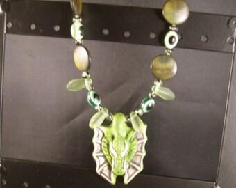 Dragon focal necklace--WoW, Game of Thrones, Pern  paganteam, etsyBead, OlympiaEtsy, WWWG, FunkyAlternativeJewelry, EnglishGeeks,
