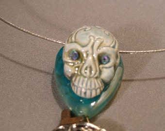 Skeleton necklace -- steampunk Valentine, mostly vintage  TrashionTeam, etsyBead, Halloween24/7, paganteam, WWWG, FunkyAlternativeJewelry