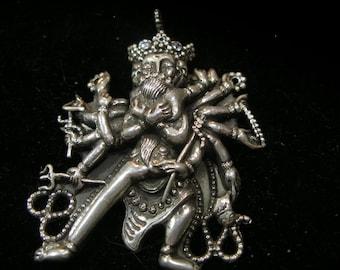 Tibetan Buddhist pendant optional chain- MATURE CONTENT -double body Buddha, thousand hand Bodhisattva 925 silver artisan made etsyBuddhists