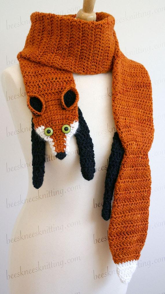 Digital Pdf Crochet Pattern For Fox Scarf Diy Fashion Etsy