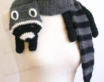 Digital PDF Crochet Pattern for Raccoon Scarf - DIY Fashion Tutorial - Instant Download - ENGLISH only