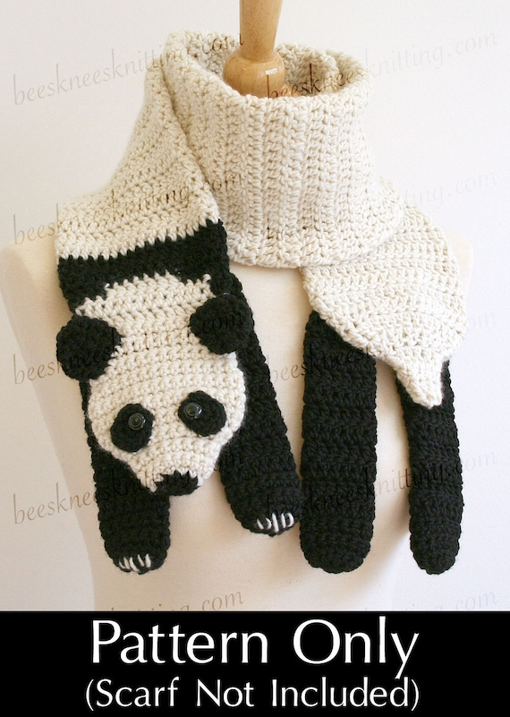 Digital PDF Crochet Pattern for Panda Bear Scarf DIY Fashion | Etsy
