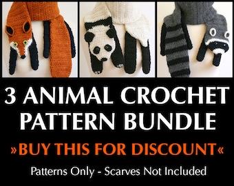 Digital PDF Crochet Pattern Bundle - 3 Crochet Patterns for Animal Scarves - DIY Fashion Tutorial - Instant Download - ENGLISH only