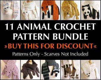 Digital PDF Crochet Pattern Bundle - 11 Crochet Patterns for Animal Scarves - DIY Fashion Tutorial - Instant Download - ENGLISH only