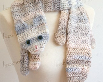 Digital PDF Crochet Pattern for Calico Cat Scarf - DIY Fashion Tutorial - Instant Download - ENGLISH only