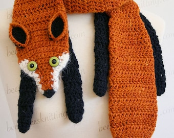 Digital PDF Crochet Pattern for Fox Scarf - DIY Fashion Tutorial - Instant Download - ENGLISH only