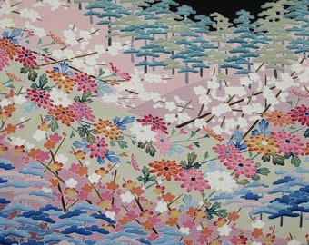 SILK KIMONO FABRIC Vintage Japanese Silk Fabric from Vintage Unused Kimono HandPainted Pink Flower Floral Patterned Silk Fabric14W x 75 L