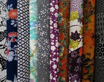 SALE 20/% off 4pc Destash Vintage KIMONO Fabric Small Scrap