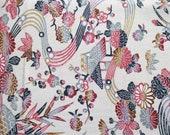 Wabi-Sabi Pink Kimono Silk Fabric By the Yard, Japanese Kimono Fabric