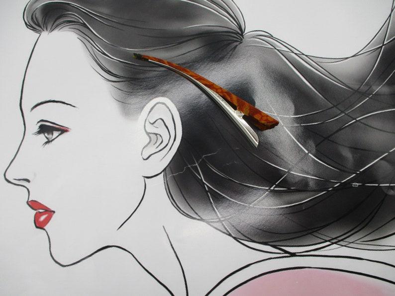 Kimono Claw Clip Brown Silk Fabric Ship from USA LAST Big Hair Clip