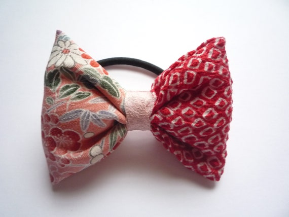 Pink and Red Kimono Ponytail Holder Bow Hair Tie  fdb71560429