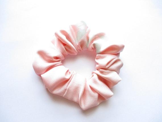Pink Cherry Blossom COTTON SATEEN  handmade wide hair Scrunchie ponytail holder
