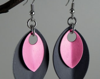 Scale Earrings, Scale Maille Earrings, Pink and Black Earrings, Chainmaille Earrings, Dangle Earrings, Funky Earrings, Statement Jewelry
