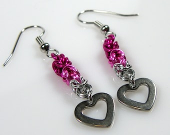 Pink Ombre Earrings - Chainmaille Earrings - Heart Earrings - Byzantine Earrings - Dangle Earring - Dainty Earring - Unique Earring