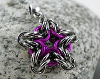 Chainmail Star Pendant - Star Pendant Necklace - Purple Star Pendant - Byzantine Star Pendant - Chainmail Jewelry - Stainless Steel Pendant