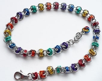 Rainbow Anklet - Rainbow Chainmaille Anklet - Rainbow Jewelry - Double Barrel Chainmaille - Chainmaille Jewelry - Chainmail Anklet