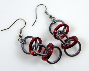 Funky Earrings - Red and Grey Earrings - DNA Orbit - Chainmaille Earrings - Chainmaille Jewelry - Jump Ring Jewelry - Casual - Chunky