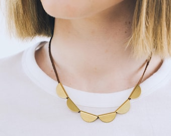 Leather necklace, Brass necklace, Crescent necklace, Half moon necklace, Modern necklace, Contemporary jewelry, Brass jewelry,  Minimalist