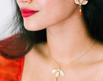 Christmas Jewelry set, Floral Jewelry set, set of holiday jewelry, Botanical jewelry, Jewelry for Christmas, Christmas earrings