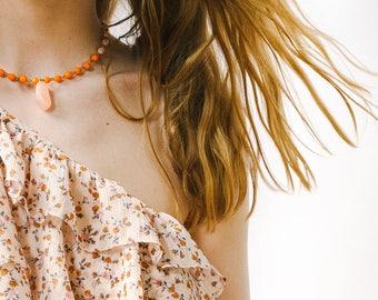 Pink Quartz and Orange Bead Necklace, Gemstone Necklace, Layering Necklace