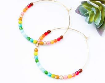 Large Gold Hoop Earrings, Large Beaded Hoops, Ombre hoop earrings, Big beaded hoops, colorful hoops, color lover jewelry