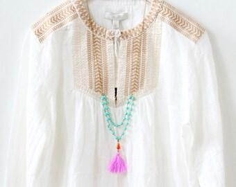 Turquoise Tassel Necklace  Turquoise necklace  Turquoise bead necklace  Tassel necklace  Layering necklace  Multi strand necklace  Boho