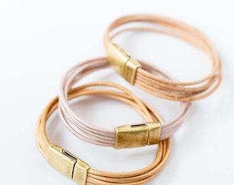 Leather Bracelet, Wrap bracelet, Leather wrap, thin leather bracelet, Genuine leather bracelet, magnetic clasp bracelet, pastel bracelet