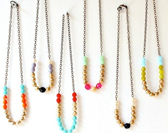 Beaded necklace, bead necklace, glass bead necklace, single strand necklace, layering necklace, colorful bead necklace, long bead necklace