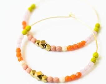 Large Gold Hoop Earrings, Large Beaded Hoops, colorful hoop earrings, Big beaded hoops, orange hoops, big orange hoops, gift for wife