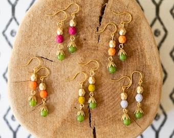 Bead earrings, Colorful bead earrings, Cute beaded earrings, Beaded earrings, Bead earrings for women, earrings for Bff, jewelry Gift