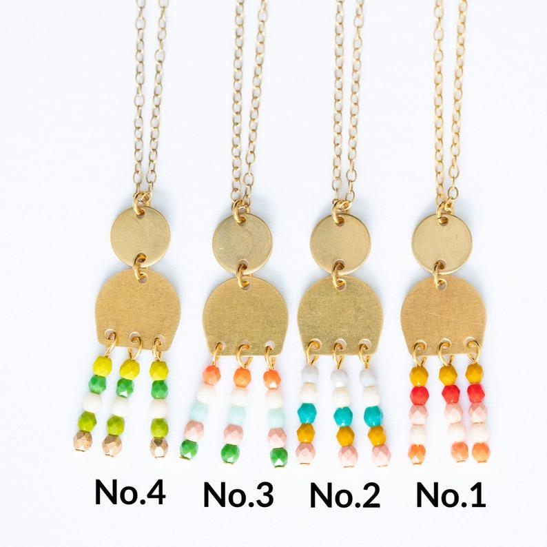 Beaded Pendant Necklace Boho Necklace Rectangle Necklace Statement Necklace Beadwork Necklace Brass Jewelry Beaded Fringe Necklace