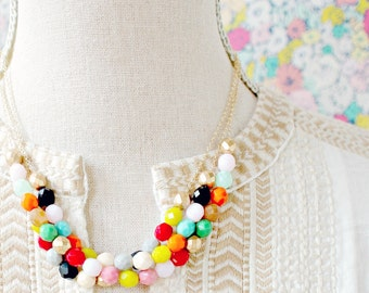 Beaded Multi Strand Statement Necklace, Statement necklace, Layered necklace, Colorful bead necklace, holiday gift, gift for her