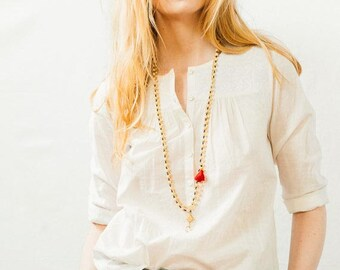 Multi Strand Bead Cream Crystal and Tassel Necklace, beaded Necklace, Cream Tassel Necklace, Tassel Jewelry, white necklace