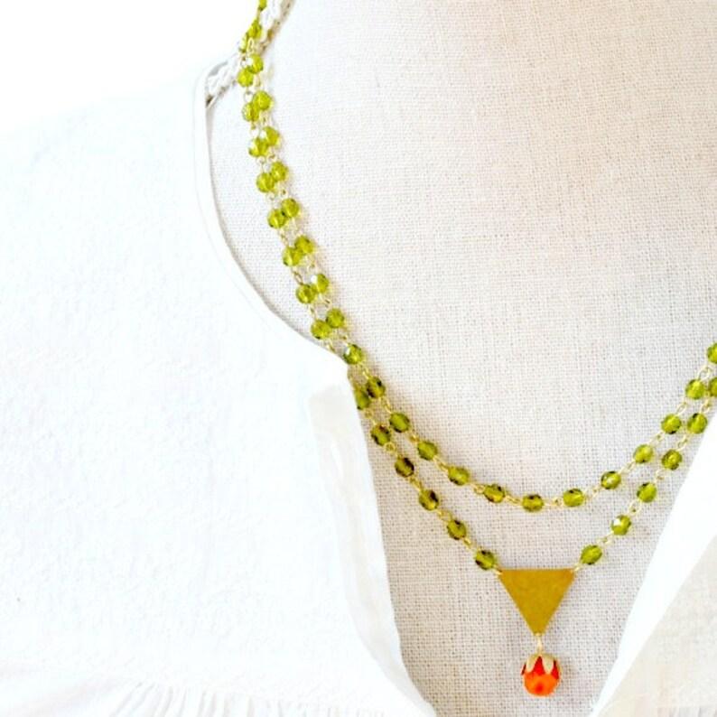 d9c338228ba75 Moss Green Modern Bead Strand Necklace, Bead necklace, beaded necklace,  Multi strand necklace, Green necklace, Statement necklace