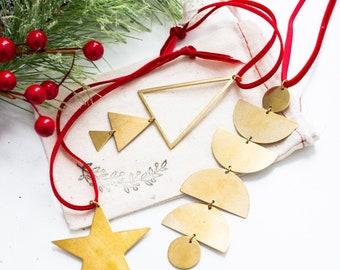 Christmas Ornament, Modern Brass decor, Brass Ornament, Unique Christmas Ornament, Farmhouse Christmas Ornament, holiday decor, holiday gift