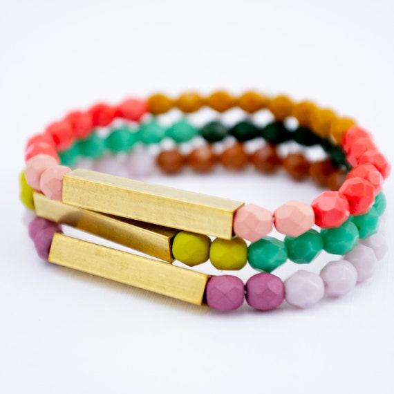 comment acheter Prix de gros 2019 qualité Boho Colorful Beaded Bracelets, Colorful Bracelets, Stacking Bracelet,  Stretch Bracelet, Brass Jewelry, Colorful Jewelry, Gift idea for wife