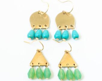 Little triangle earrings, triangle earrings, turquoise earrings, green earrings, small geometric earrings, brass earrings, cute earrings