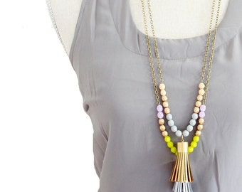 Tassel Necklace, Long Leather Tassel Necklace, Color block Bead Necklace