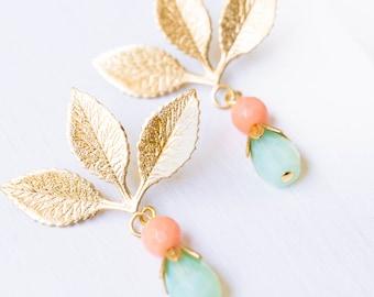 Coral Earrings, coral jewelry, Little Gold Earrings, Little Boho Earrings,Mothers day gift, gift for mom, jewelry for mom, gift idea for mom