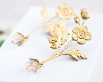 Gold Flower Earrings, Flower and Crystal Stud Earrings, Long Gold Earrings, Bridal Flower Earrings, Crystal Earrings, Stud Earrings