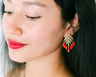 Red earrings, red bead Earrings, red Dangle earrings, red Drop earrings, ruby red  earrings, bridgerton jewelry, Statement earrings, Studs