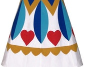 hex sign skirt - hearts - pennsylvania dutch folk art inspired hand screen print