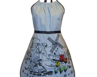 dutch treat apron - blue & navy- cute screen print with windmills, tulips, clogs and ric rac trim