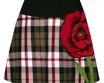 plaid poppy skirt - with bright red screen printed poppy applique