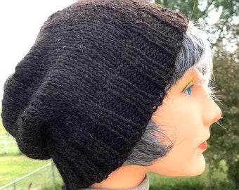 Warm wool hat, Black Alpaca and Sheep beanie